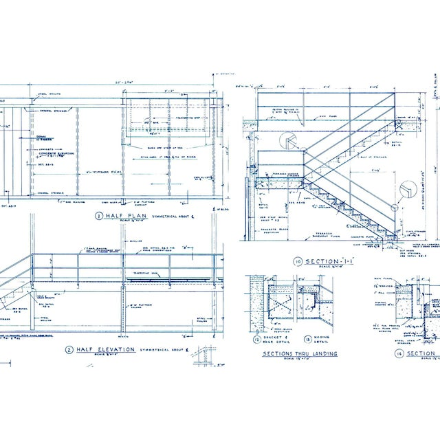 Mies Van Der Rohe Blueprint, Crown Hall, Chicago, 1954, North Platform For Sale In Chicago - Image 6 of 13