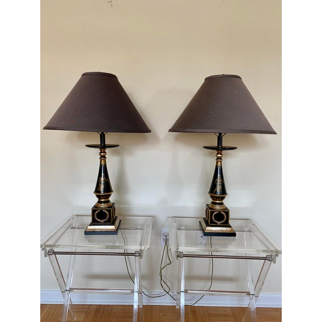 Italian Italian Hand Painted Neoclassical Style Gilt Wood Lamps - a Pair For Sale - Image 3 of 13