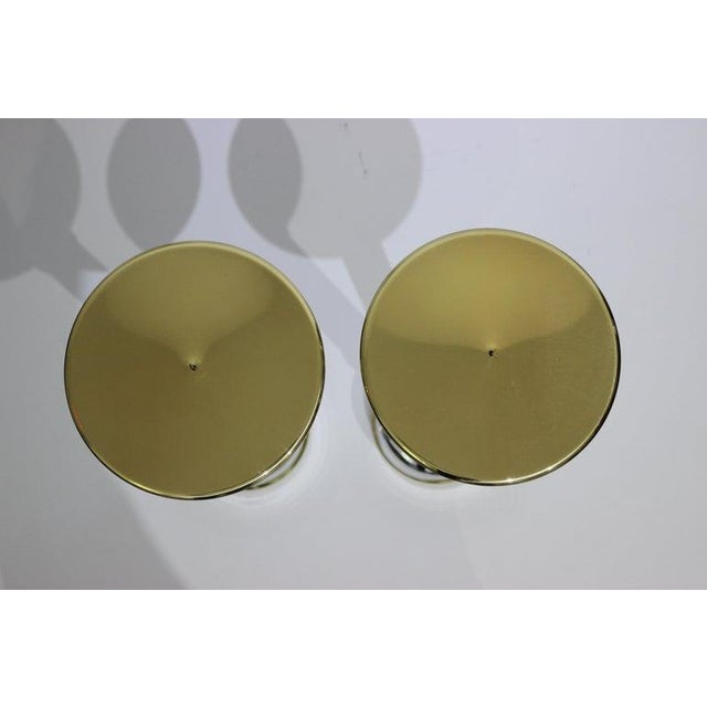 Mid-Century Modern Candlesticks in Aluminum and Brass - a Pair For Sale - Image 4 of 13