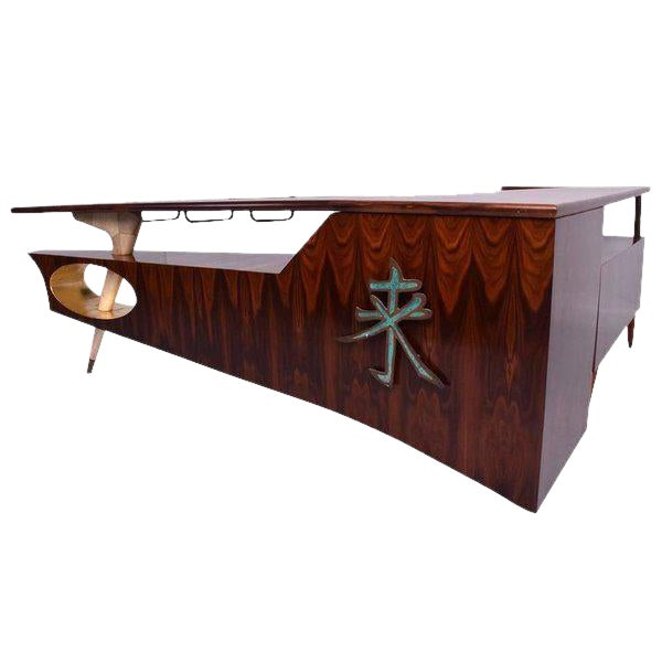 Modernist Rosewood Desk with Mendoza Hardware For Sale