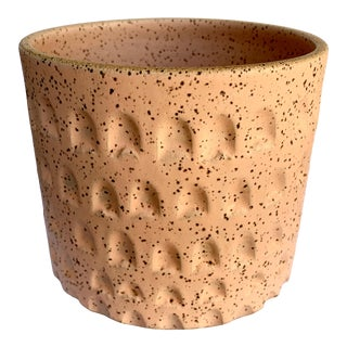 Peach Speckled Stoneware Planter For Sale