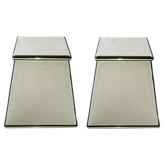 Italian Vintage Mirrored Pedestals - a Pair For Sale