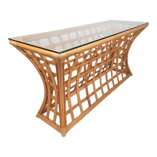 Vintage Modern Bamboo and Glass Console Table For Sale