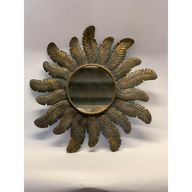 """Tole feather sunburst mirror. in great condition, from Spain. Actual size is 38"""" round"""