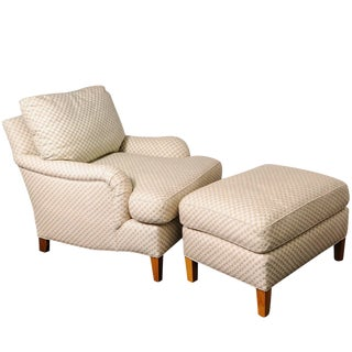 Club Chair and Ottoman With Diamond-Star-Pattern Cream-Colored Woven Fabric For Sale