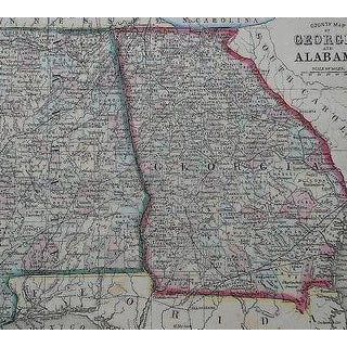 This 19th century map is a hand colored lithograph printed in the USA c.1862. It depicts the states of Georgia and...