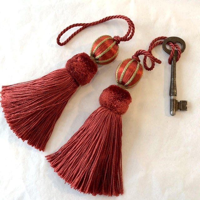 """2020s Red Beaded Key Tassel - H 4.75"""" For Sale - Image 5 of 9"""