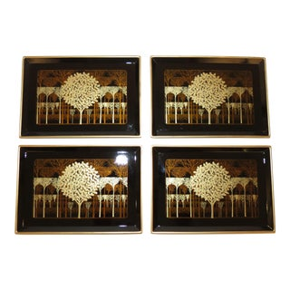 Midcentury Hollywood Regency Hand-Crafted Tree of Life Black Gilt Serving Trays - Set of 4 For Sale