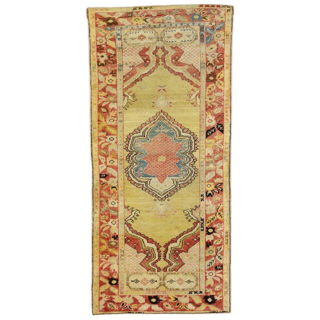 20th Century Turkish Oushak Accent Rug For Sale