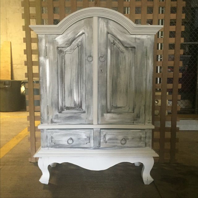 Vintage Distressed White Wine Cabinet - Image 2 of 8