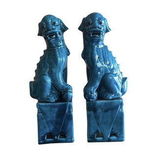 """Vintage Chinese Porcelain Turquoise Foo Dogs 13"""" - a Pair For Sale"""