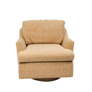 Mid Century Milo Baughman Style Swivel Tub Chair For Sale