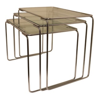 Vintage Tubular Stainless Steel Nesting Tables - Set of 3 For Sale