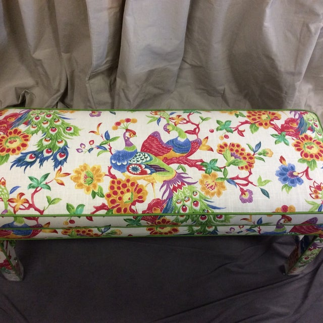Upholstered Bench in Peacock Print Linen - Image 5 of 7