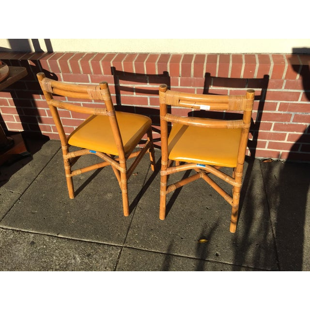 Mid-Century Modern Pair Bamboo Side Chairs Mid Century For Sale - Image 3 of 7