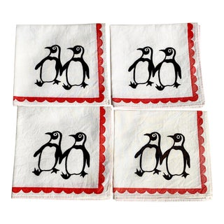 Vintage Penguin Cocktail Napkins- Set of 4 For Sale