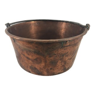 19th Century French Copper Cauldron With Wrought Iron Handle