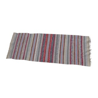 Swedish Hand Woven Rag Rug - 1′9″ × 4′8″ For Sale