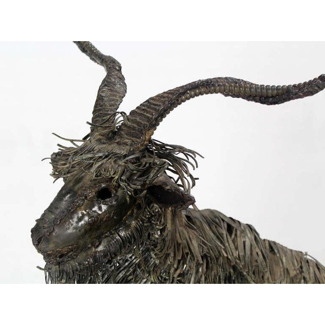 Mid-Century Modern Tall Mid-Century Modern Metal Sculpture of a Goat For Sale - Image 3 of 10