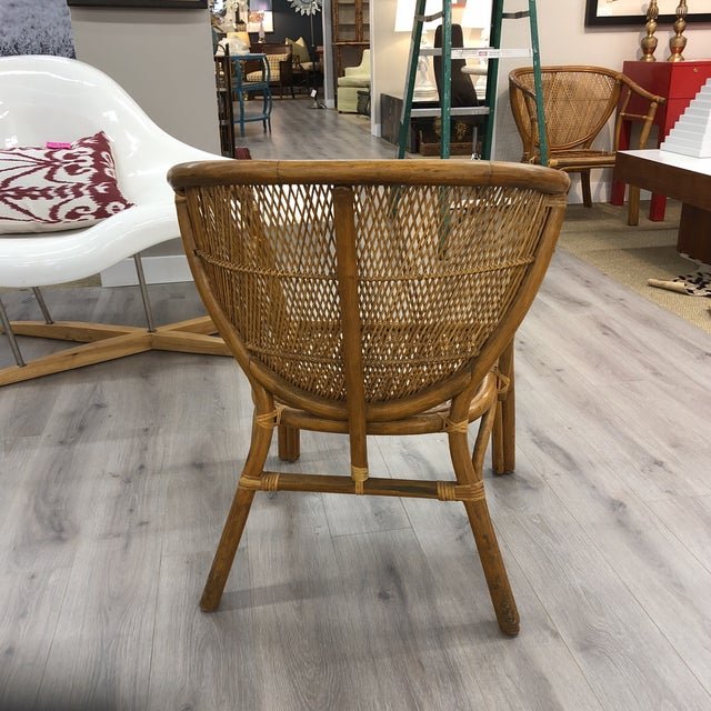 Mid-Century Modern 4 Vintage Midcentury Rattan Chairs For Sale - Image 3 of 9