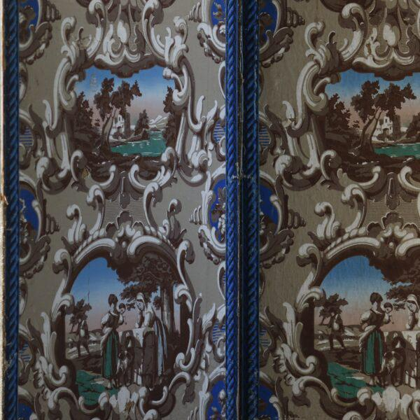 French Late 19th Century French Wallpaper Screens - A Pair For Sale - Image 3 of 6