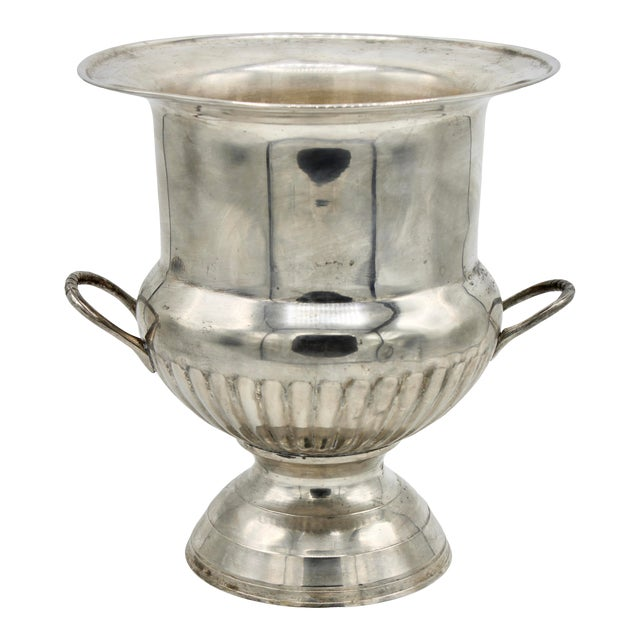 Vintage Mid Century Modern Silver Plate Champagne Ice Bucket For Sale
