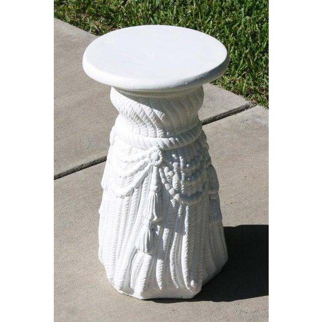 White Vintage Plaster Rope Fringe Tassel Side Table / Drinks Table / Stool For Sale - Image 8 of 13