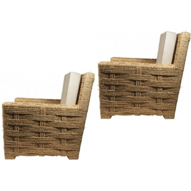 Mid-Century Modern Audoux Minet Pair of Woven Rope Lounge Comfy Chairs For Sale - Image 3 of 7
