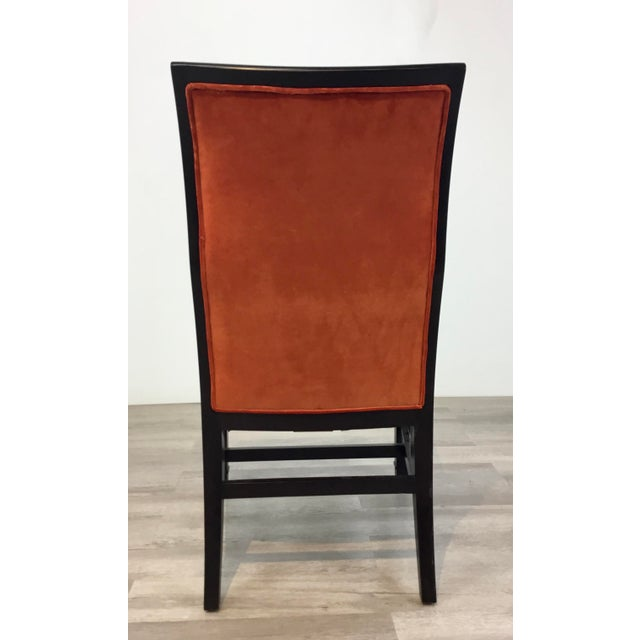 Henredon Modern Orange Velvet Dining Chairs Set of Four For Sale In Atlanta - Image 6 of 7