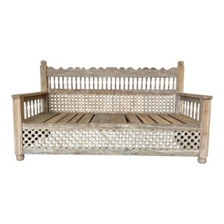 "Moroccan Custom Inspired Hardwood Daybed WIth Custom ""Desert,"" Finish For Sale"