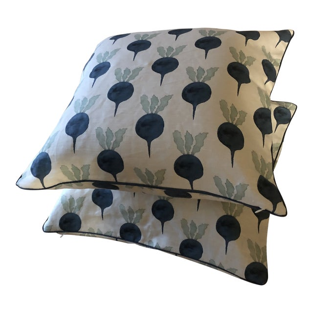 Radish Moon Hand Blocked Designer Fabric Pillows - A Pair For Sale