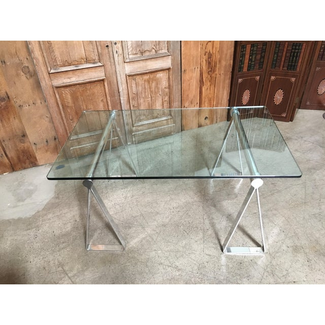 Mid-Century Modern Mirrored Polished Aluminium Sawhorse Table Desk For Sale - Image 9 of 11