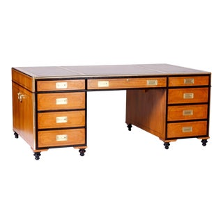 Large Campaign Style Partners Desk For Sale