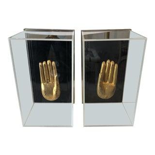 1970s Vintage Greg Copeland Lucite Box Framed Yoga Hands For Sale