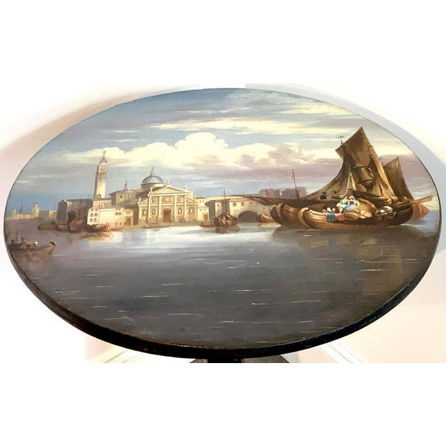 19th Century English Papier-Mâché Tilt-Top Table View of St Marks Square For Sale - Image 10 of 11