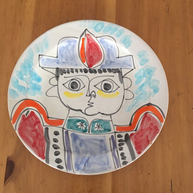 Wonderful DeSimone vintage Plate DeSimone Pottery made in Sicily. Reminiscent Of Picasso Marked. Mid Century