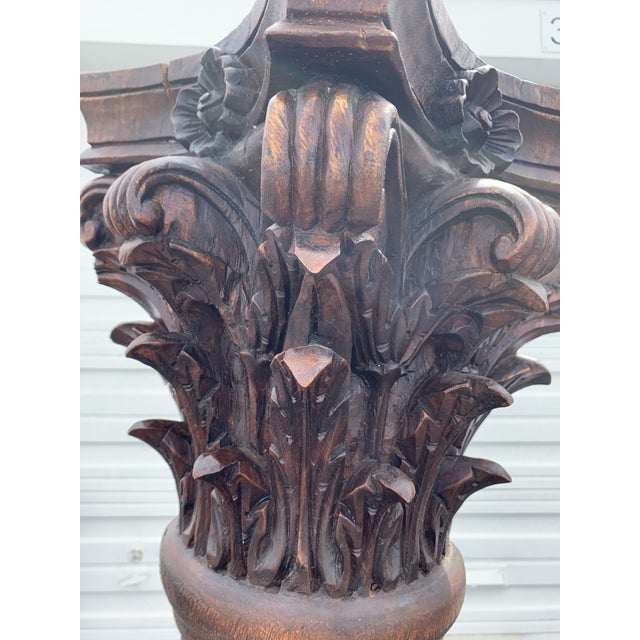 Antique Corinthian Style Carved Mahogany Columns - a Pair For Sale - Image 4 of 13