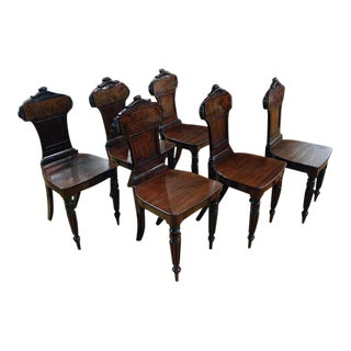 Late 19th Century Irish Mahogany Hall Chairs- Set of 6 For Sale