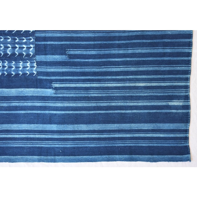 """58"""" X 34"""" Custom Tailored Blue & White Flag From African Textiles - Image 6 of 8"""