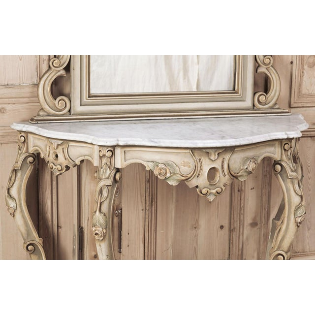 White 19th Century Italian Hand Painted Console and Mirror With Cararra Marble For Sale - Image 8 of 13