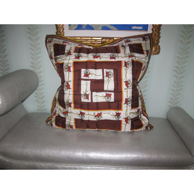 Vintage, Quilted Hermes-Style Silk Scarf Pillow Envelope For Sale - Image 6 of 6
