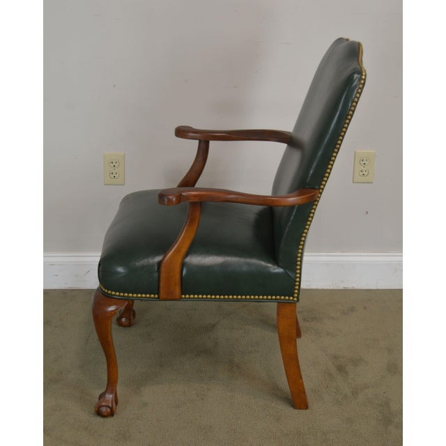 Wood South Mark Green Leather Chippendale Style Ball & Claw Pair Armchairs (A) For Sale - Image 7 of 12