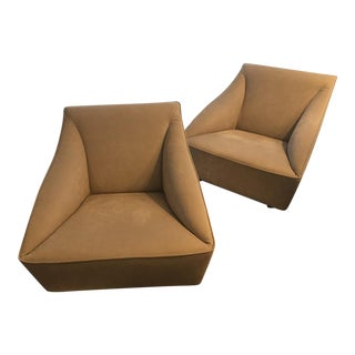 New Knoll Chai Ming Studio Gary Lee Leather Club Chairs - a Pair