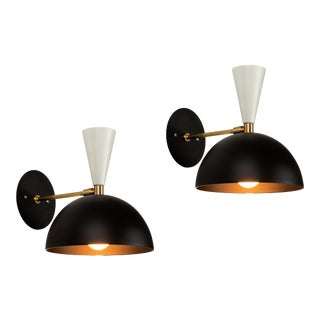 Large 'Lola II' Sconces in Black and White - a Pair For Sale
