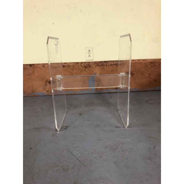 Gold 1970s Mid-Century Modern Lucite & Brass Table Base For Sale - Image 8 of 11