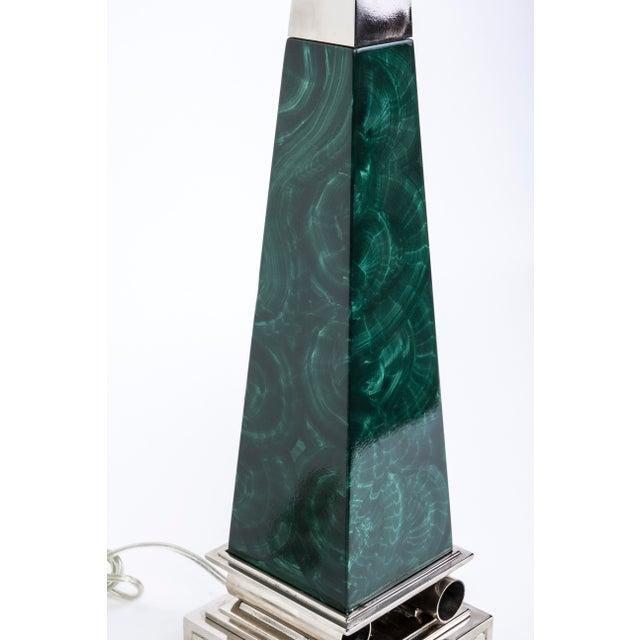 Tommi Parzinger Stiffel Mid-Century Modernist Malachite Obelisk Table Lamps- A Pair - Image 3 of 5