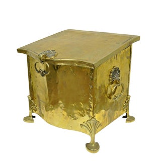 Victorian English Brass & Wood Footed Fireplace Scuttle Coal Box