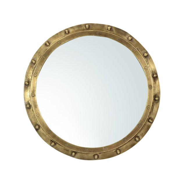 Industrial Brass Rivet Framed Port Hole Mirror - Image 1 of 2