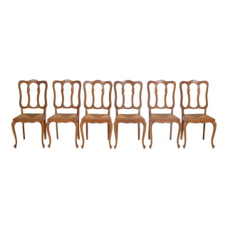 Set of 6 Louis XV Dining Chairs With Cane Seats For Sale