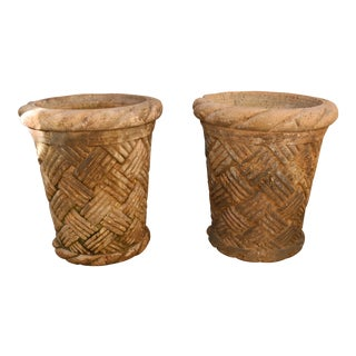1800s Vintage Big Concrete Bamboo Carved Pair of Flower Pots- a Pair For Sale